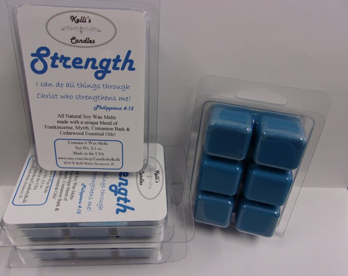 Strength Wax Melt ~ All Natural Soy Wax ~ Frankincense, Myrrh, Cinnamon Bark & Cedarwood Essential Oils ~ 2.5 oz
