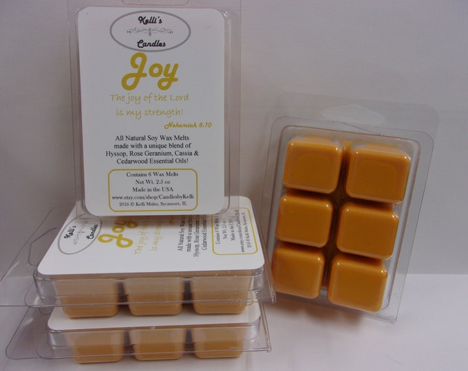 Joy Wax Melt ~ All Natural Soy Wax ~ Hyssop, Rose Geranium, Cassia & Cedarwood Essential Oils ~ 2.5 oz