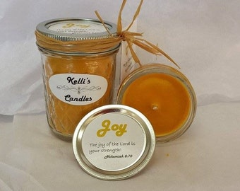 Joy Soy Candle with Hyssop, Rose Geranium, Cassia & Cedarwood Essential Oils 4 oz Jar
