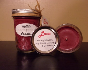 Love Soy Candle with Cassia, Myrrh & Sandalwood Essential Oils 4 oz Jar