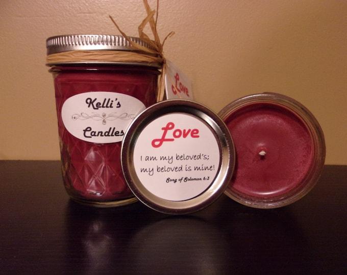 Love Soy Candle with Cassia, Myrrh & Sandalwood Essential Oils 4 oz Jar