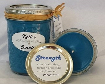 Strength Soy Candle with Frankincense, Myrrh, Cinnamon Bark & Cedarwood Essential Oils 4 oz Jar