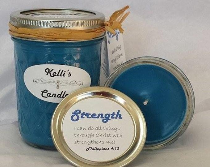 Strength Soy Candle with Frankincense, Myrrh, Cinnamon Bark & Cedarwood Essential Oils 8 oz Jar
