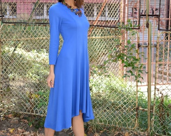 Wool Dress, Plus Size Dress, Winter Dress, Womens Dress, Blue Dress, Long Sleeves Dress, Knee Length Dress, Elegant Dress, Danelly D16.16.11