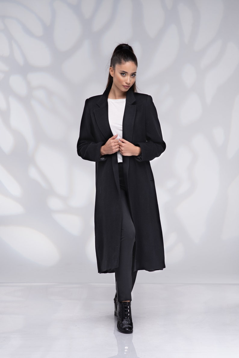 Long Maxi Coat Plus Size Coat Coat with Belt Winter Coat Black Wool Coat Women