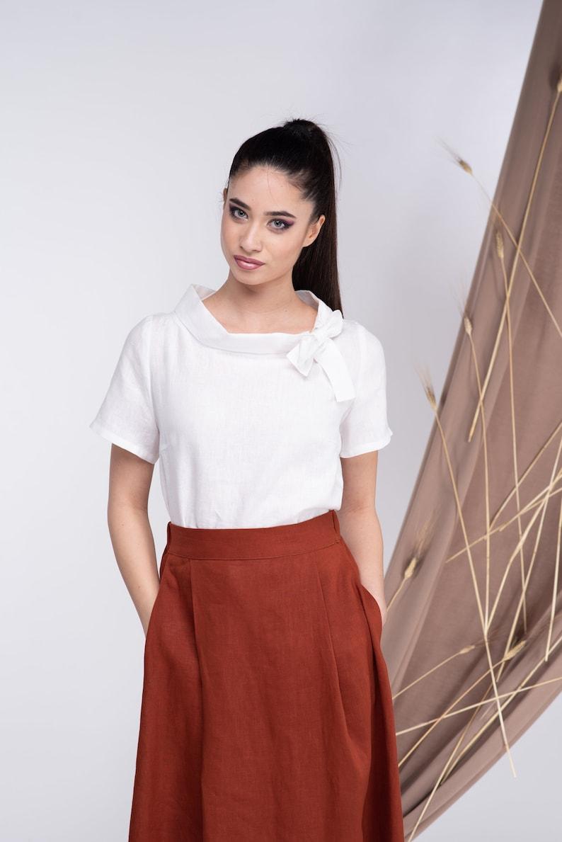 Linen Top Purple Linen Shirt Linen Blouse