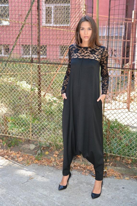 Black Lace Jumpsuit Plus Size Jumpsuit Black Lace Dresses Etsy
