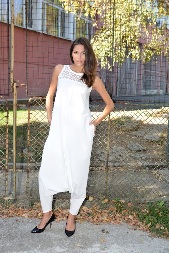 White Womens Jumpsuit Plus Size Romper Harem Jumpsuit Drop Etsy