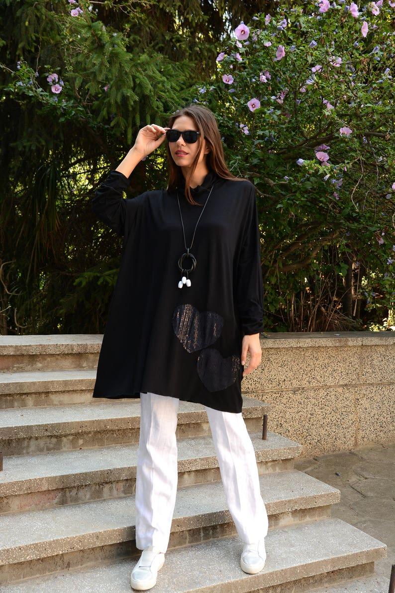 Oversized Tunic Tunics Plus Size Plus Size Tops Plus Size Tunic Danelly D17.08.3 Loose Tunic Tunic Tops Long Sleeved Top Black Tunic