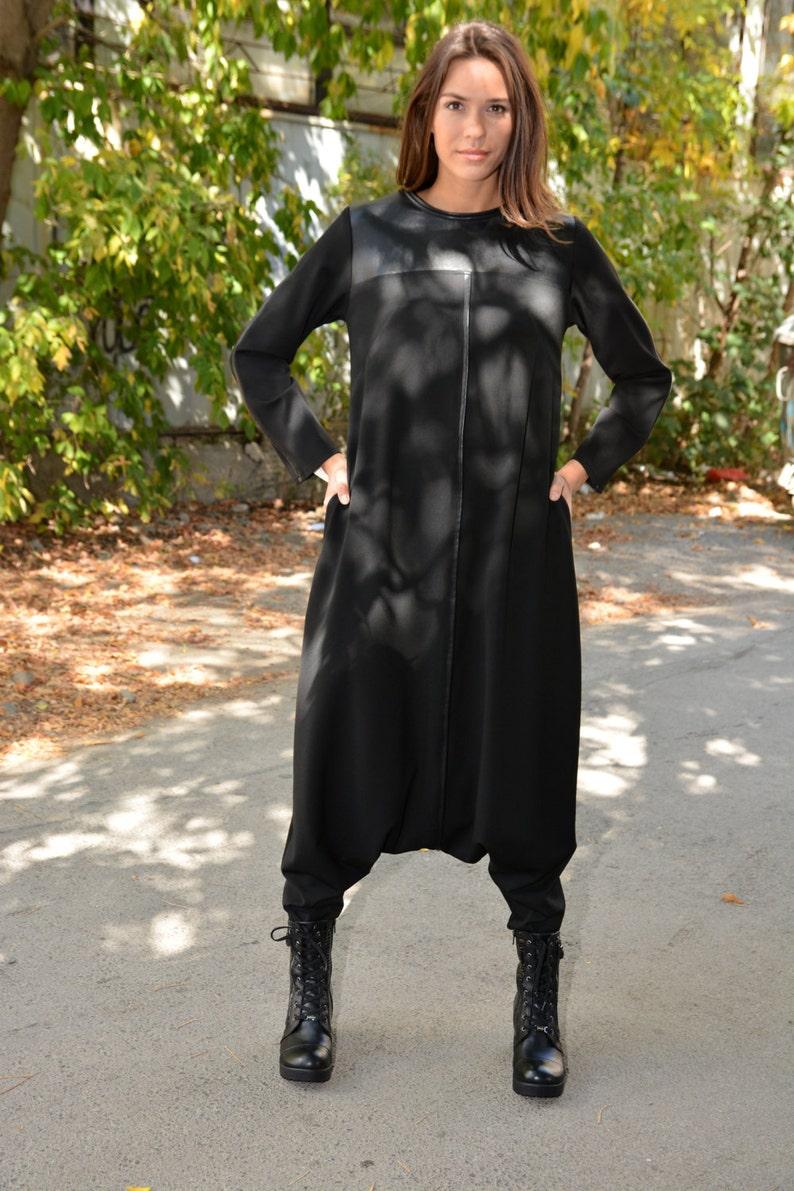 d447bd7042568 Oversized Black Maxi Jumpsuit Harem Jumpsuit Women s