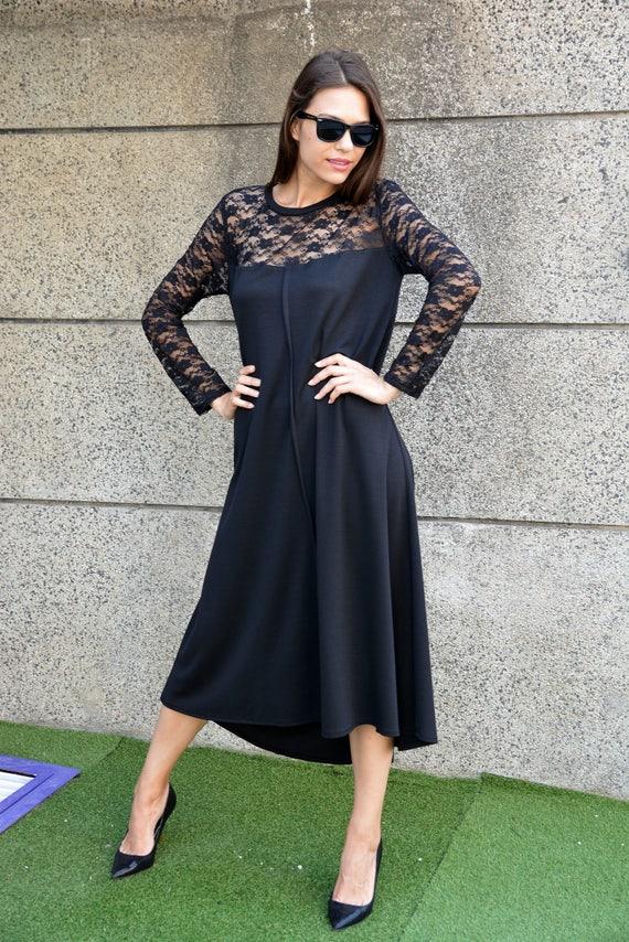 Formal Lace Dress, Plus Size Evening Dress, Black Womens Dresses, Oversized  Dress, Long Sleeve Dress Women, Boho Dress, Danellys D17.16.09