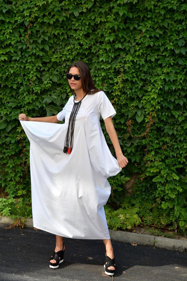 Boho Dress Maternity Dress Oversized Dress Danellys D17.16.07 Maxi Dress Women Balloon Dress Loose Dress White Dress Plus Size Dress