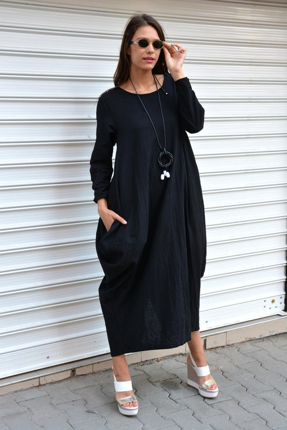 Oversized Dress, Black Dress, Formal Dress, Plus Size Dress, Kaftan  Dresses, Balloon Dress, Long Sleeve Dress, Dress Women, Danelly D17.16.3