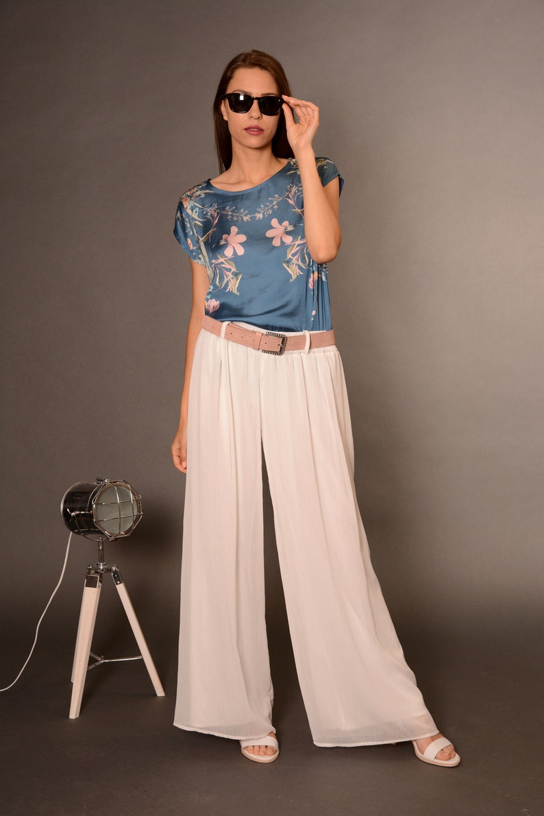 deab7c25049 Wide Leg Pants Palazzo Pants Plus Size Trousers White