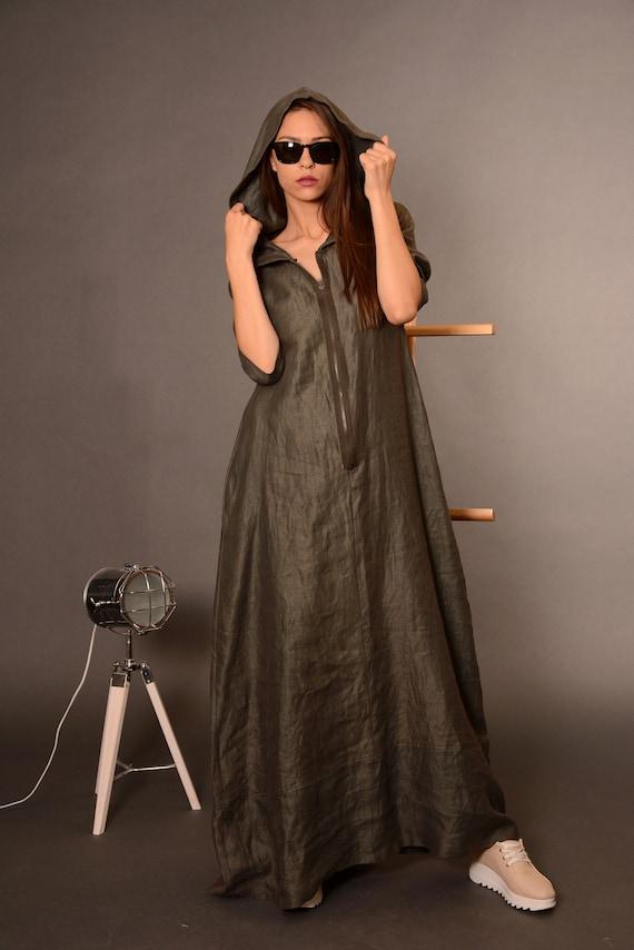 bfc4c9ff1bf Linen Dresses Kaftan Dress Plus Size Dress Hooded Dress
