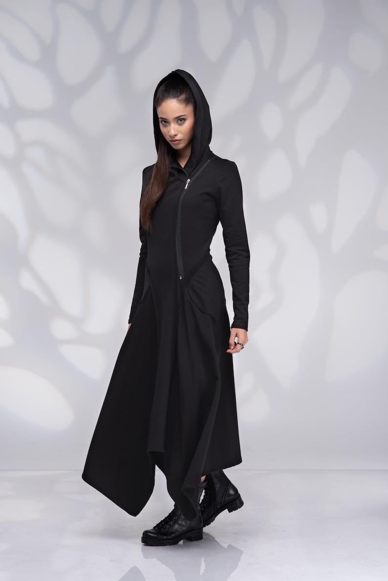 Hooded Dress with Pockets Maxi Sweatshirt Dress Long Hoodie Sweatshirt Dress Zip Dress Long Sleeve