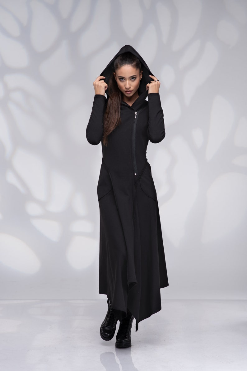 Zip Dress Long Sleeve Hooded Dress with Pockets Maxi Sweatshirt Dress Long Hoodie Sweatshirt Dress