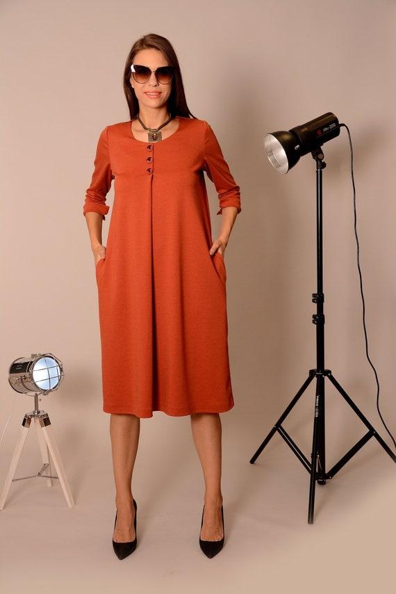 Winter Dress, Plus Size Dress, Midi Dress, Womens Dresses, Long Sleeves  Dress, Burnt Orange Dress, Maxi Dress, Boho Dress, DanellysD18.16.15