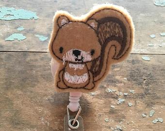 Squirrel ID badge reel holder retractable clip