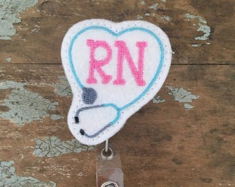Rn stephoscope ID badge reel holder retractable clip