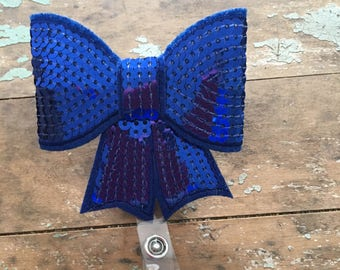Royal blue sequin bow ID badge reel holder retractable clip
