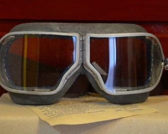 Original Soviet Russian Pilot Flying Aviator Tankman Moto Goggles WWII USSR Made