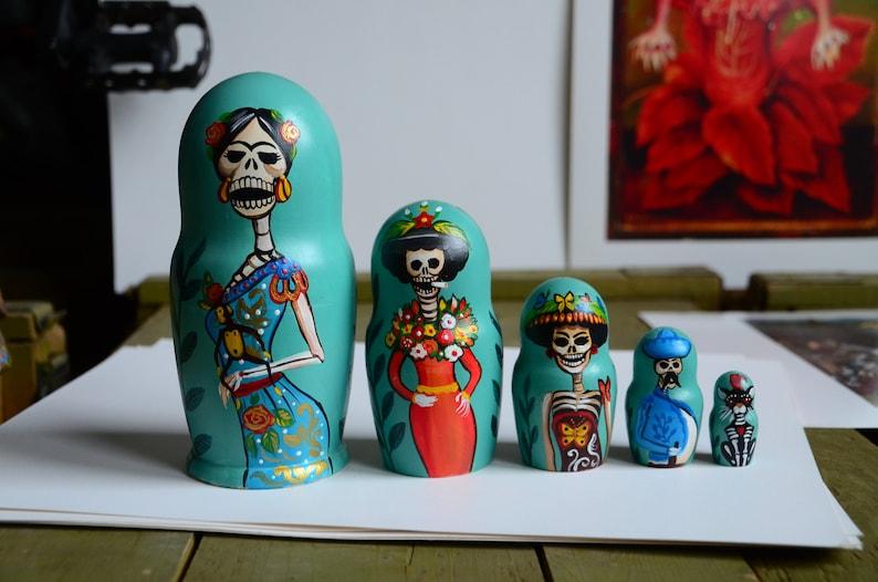 New Russian Matryoshka Babushka Skull Wooden nesting dolls handmade