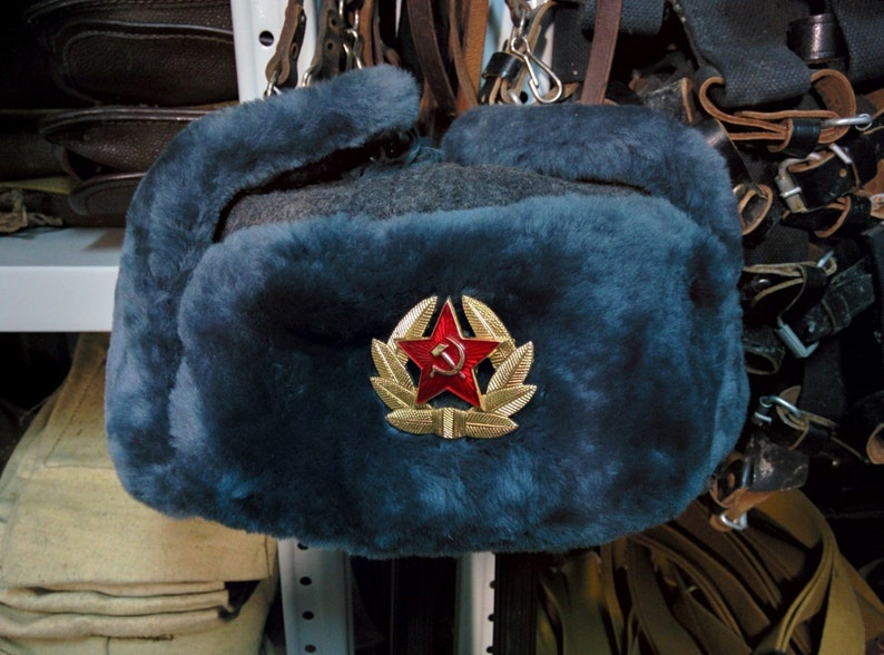 Sheepskin Fur Authentic Soviet and Russian Gray Army Hat  9e5e5960bdd2