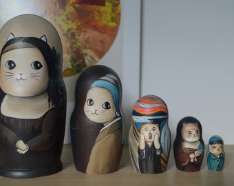Hand Painted Russian Nesting Doll Matryoshka Cats in art, Made In Russia, Free Shipping