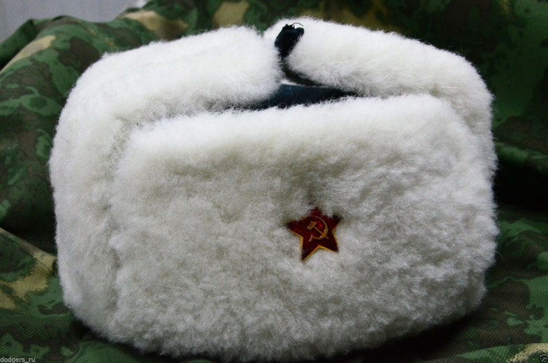 7bb9706f27f New White Real Sheepskin Fur Authentic Soviet and Russian army