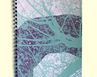 A5 Nature wire bound notebook, botanical, green, trees, leaf, leaves, garden, back to school, teacher's gift, project, study, abstract,book
