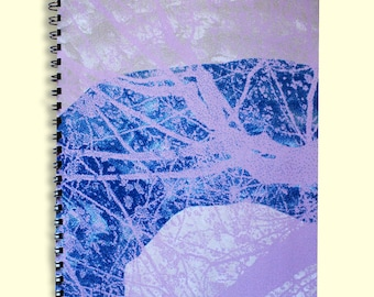 A5 nature leaf notebook, botanical, garden,leaves, organic, abstract,nature lover, teacher's gift, mother's gift, blue pink lines, school
