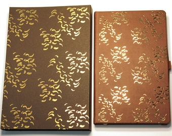 A5 luxury soft touch brown leather gold foil Castelli notebook & presentation case, botanical, nature, gifts for teachers, office stationery