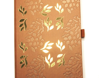A5 flower and leaf luxury brown leather gold foil embossed Castelli notebook, botanical, nature, gifts for teachers, office stationery