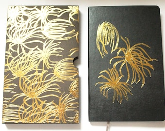 A5 flower and leaf luxury soft touch black leather gold foil Moleskin notebook, botanical, nature, gifts for teachers, office stationery