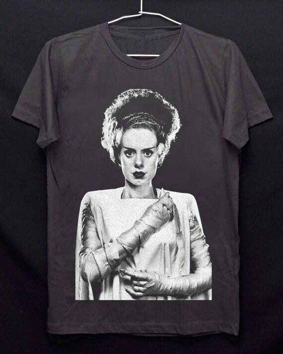 Frankenstein Bride dark grey punk rock crew 100/% soft cotton tee t-shirt size M