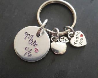 Teacher gift / teachers present / end of year gift/ personalised gift / apple charm