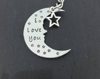 I love you keyring/ valentines day/ moon and star keyring
