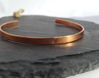 Personalised bracelet/ hand stamped Copper bracelet cuff/ Custom bracelet/ bridesmaid gift/ wedding gift/ adjustable cuff /7yr anniversary