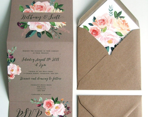 Rustic Wedding Invitation - Double-Folded Kraft Romantic Blooms