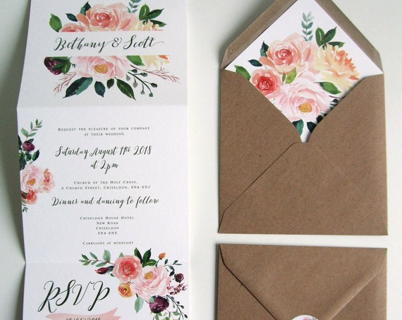 Rustic Wedding Invitation - Double-Folded Natural Romantic Blooms
