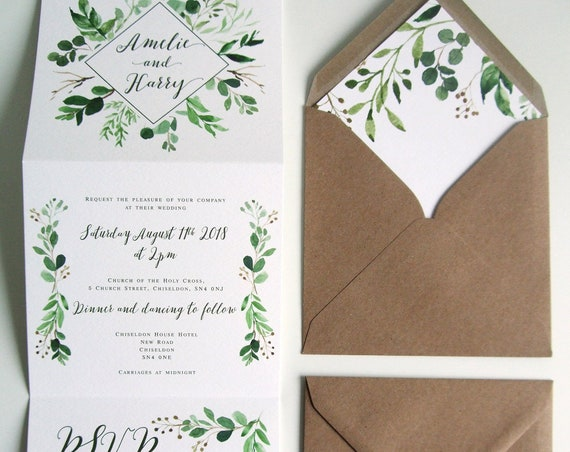 Rustic Wedding Invitation - Double-Folded Natural Vineyard