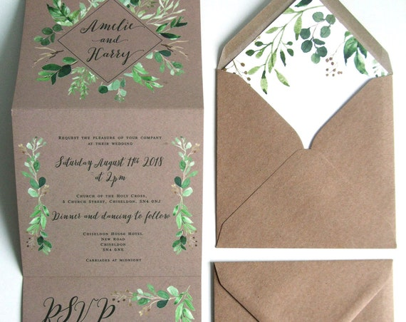 Rustic Wedding Invitation - Double-Folded Kraft Vineyard