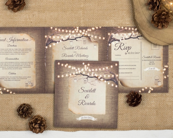 Rustic Wedding Invitation - Double-Folded Rustic Lights (landscape)