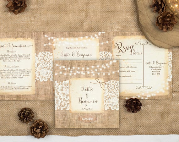 Rustic Lace Wedding Invitation - Double-Folded Burlap And Lace (landscape)