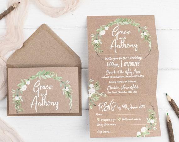 Rustic Wedding Invitation - Kraft Meadow Z-Fold