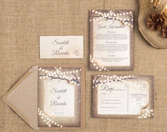 Rustic Wedding Invitation Set - A6 Rustic Lights
