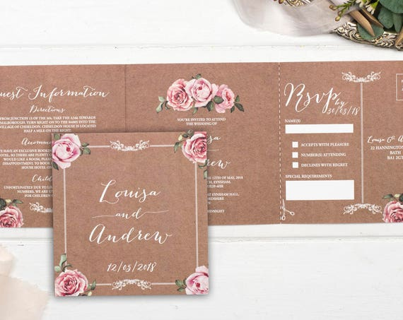 Vintage Wedding Invitation - Double-Folded Kraft Floral Framed (landscape)