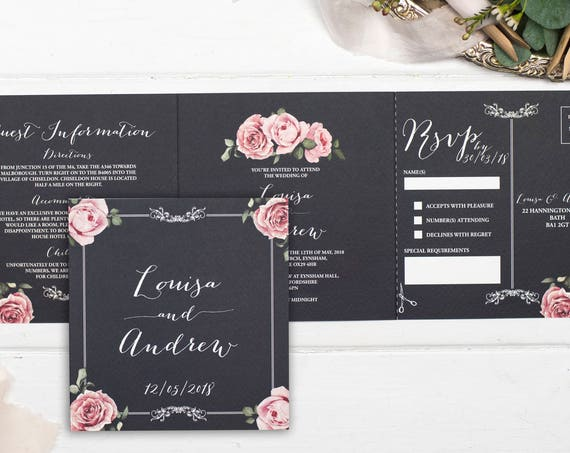 Rustic Wedding Invitation - Double-Folded Chalkboard Floral Framed (landscape)