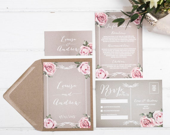 Vintage Wedding Invitation Set - A6 Grey Floral Framed